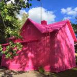 Однотонный дизайн розового дома