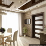 Оригинальный дизайн бежевой квартиры