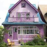Оригинальный дизайн фиолетового дома