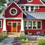 Пример необычного дизайна красного дома