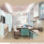 Пример оформления дизайна в бирюзовом цвете в квартире
