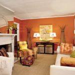 Пример современного дизайна оранжевой квартиры
