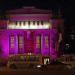 Пример яркого дизайн дома фиолетового цвета