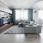 Приятный дизайн голубой квартиры