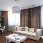 Просторная коричневая квартира с оригинальным дизайном