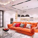 Простой дизайн оранжевой квартиры