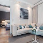 Серо-голубой дизайн квартиры