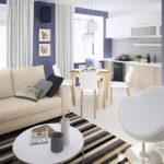 Синий цвет квартиры с оригинальным дизайном