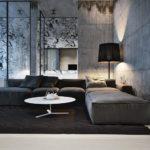 Стильная и современная серая квартира с красивым дизайном