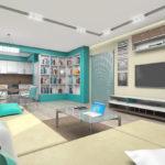 Стильный и современный дизайн бирюзовой квартиры
