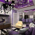 Стильный вариант дизайна квартиры фиолетового цвета
