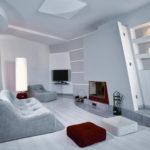 Стильный вариант дизайна квартиры, оформленной в сером цвете