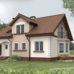 Светлый дизайн коричневого дома