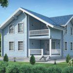 Светлый голубой дом с красивым дизайном