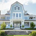 Светлый вариант оформления дизайна синего дома