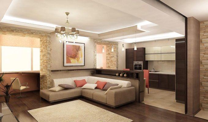 Темный дизайн бежевой квартиры