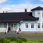 Уютный дизайн дома голубого цвета