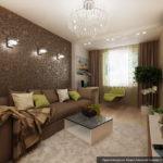 Дизайн интерьера бело-коричневой гостиной