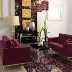 Уютный и приятный дизайн бордовой квартиры