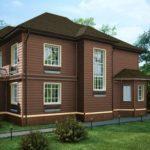 Вариант дизайна дома коричневого цвета