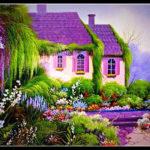 Вариант обустройства фиолетового дома снаружи