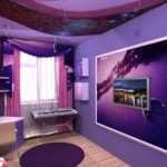 Яркая насыщенная фиолетовая квартира с оригинальным дизайном