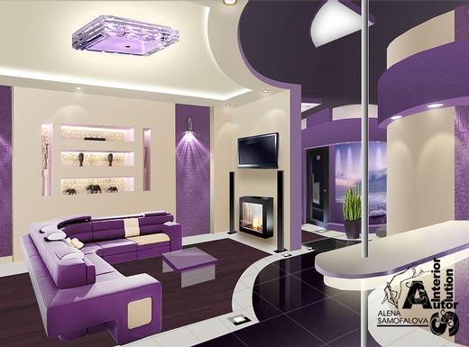 Яркий дизайн фиолетовой квартиры