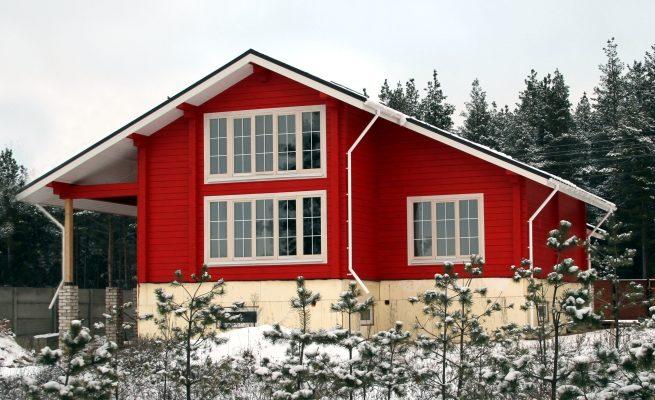 Яркий и современный дизайн красного дома