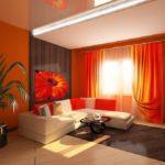 дизайн оранжевой квартиры