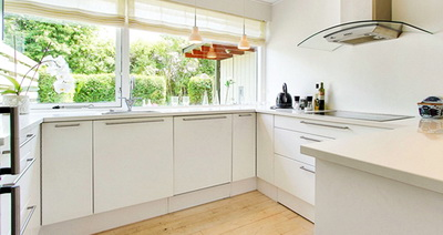 Одноэтажная кухня - простор без верхних шкафов