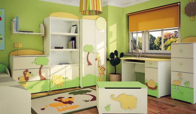Зелёная детская комната, как сочетать цвета